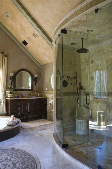 amazing bath amazing curved glass walled walk in shower with added seat