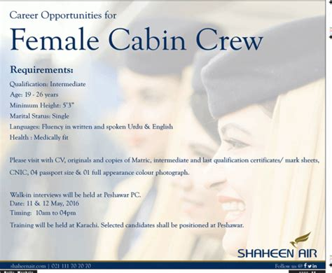 air cabin crew qualifications shaheen airline cabin crew 2017