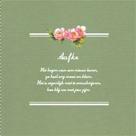 een lieve, vintage geboortekaart met een gedichtje voorop