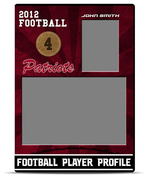 football card template football player profile template teamtemplates
