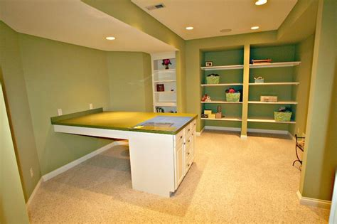 basement craft room and functional lower level craft room transitional