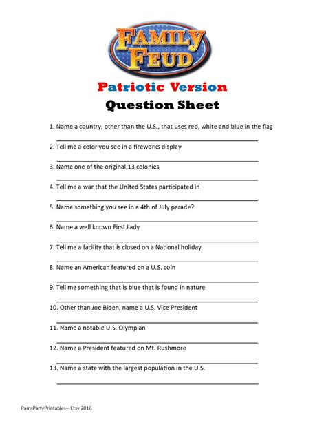 printable games about family printable patriotic family feud game question sheet