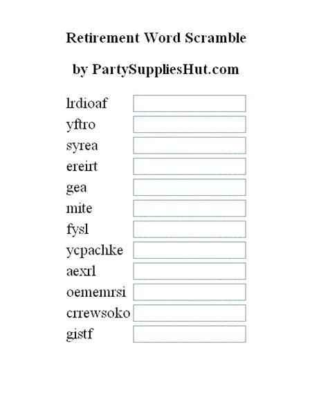 Retirement word games free
