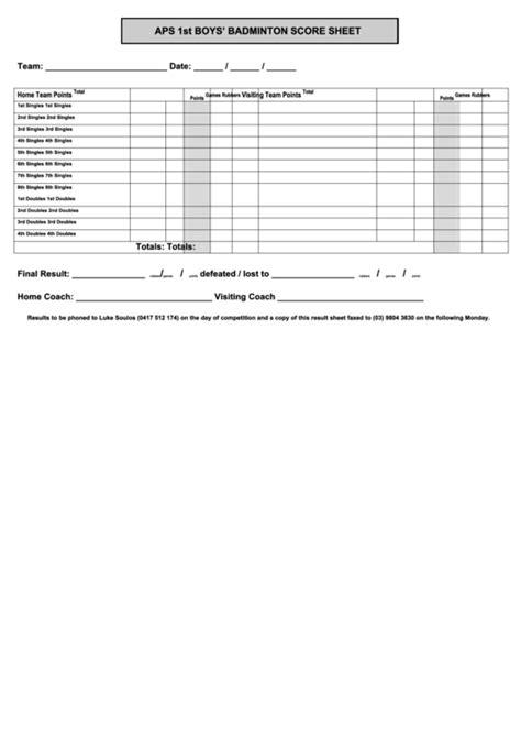 Badminton Score Card Template by Badminton Score Sheet Printable Pdf