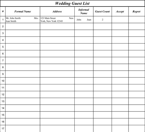 wedding guest list spreadsheet template 15 best images of wedding guest list worksheets