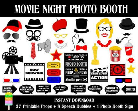 free printable movie themed photo booth props movie night photo booth props 46 pieces 38 props 8 speech