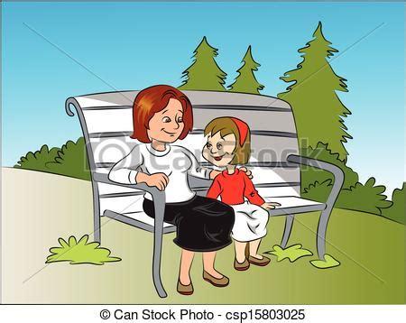 the bench com ilustraciones de vectores de hija sentado banco vector