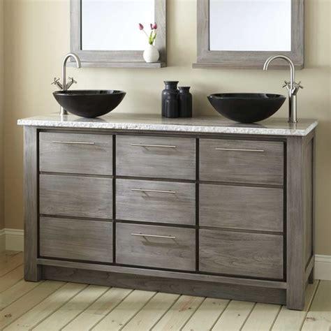Vanity With Two Sinks by 60 Quot Venica Teak Vessel Sinks Vanity Gray Wash