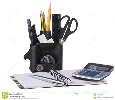 Office Desk Tools Desk Organizer With Office Tools Royalty Free Stock Images