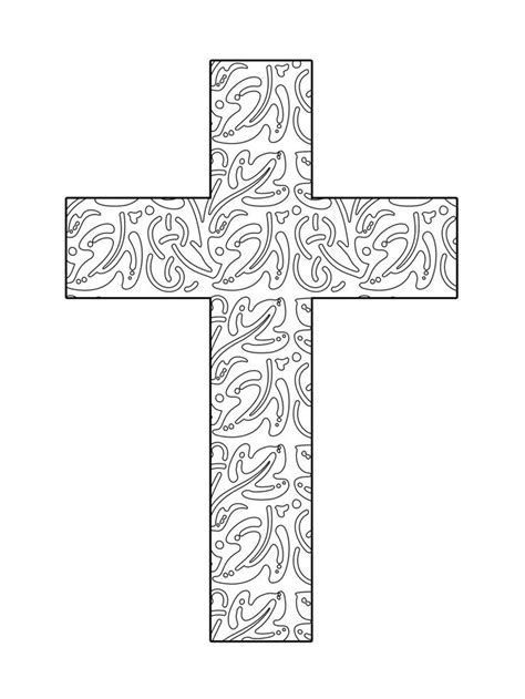 Abstract Cross Coloring Pages | abstract leaves printable cross coloring page the cross