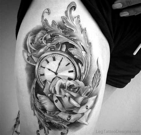 clock and rose tattoos 45 wonderful clock tattoos on thigh