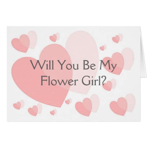 will you be my flower card template pink hearts will you be my flower request card zazzle