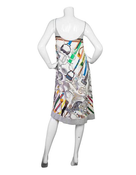 Hermes Scraf Dress hermes multi colored cotton silk scarf printed dress fr36