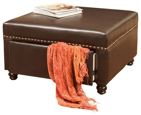 Brown Leather Square Storage Ottoman Cressida Square Storage Ottoman Brown Leather Transitional Footstools And Ottomans By