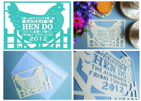 chicken template  hand cut hen party invitations