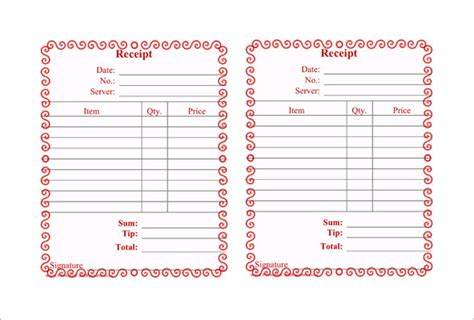 free restaurant receipt template 12 restaurant receipt templates doc pdf free