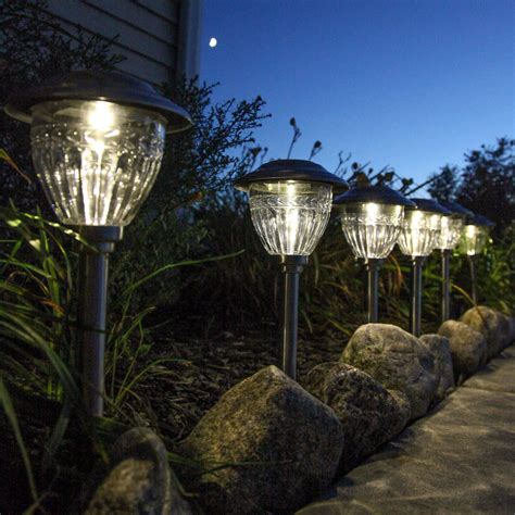 Solar Landscaping Lights Lights Solar Solar Landscape Stainless Steel Solar Path Lights Set Of 6