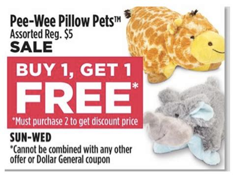 Pillow Coupons by Wee Pillow Pets Only 2 50 At Dollar General