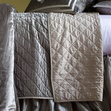 linen quilted coverlet lili alessandra chloe diamond quilted silver velvet