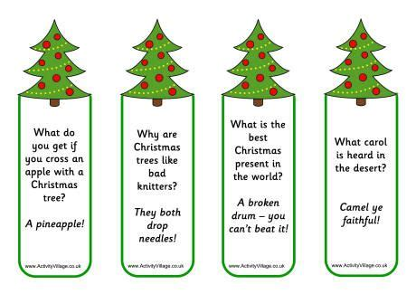 printable new years jokes new year jokes for kids christmas tree jokes bookmarks