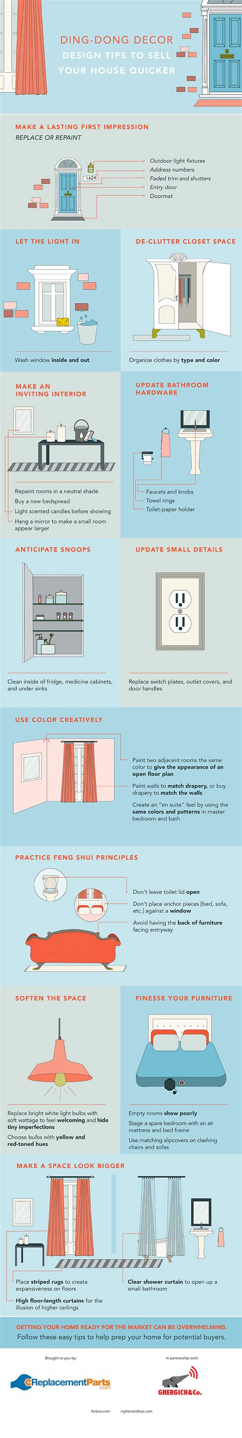 design tips for selling your home easy design tips to sell your house faster infographic