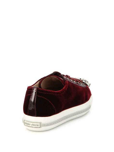 velvet sneakers miu miu studded velvet sneakers in purple lyst