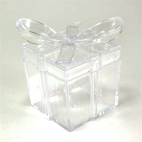 Favor Boxes by Maple Craft Clear Square Gift Box With Bow Plastic Favor