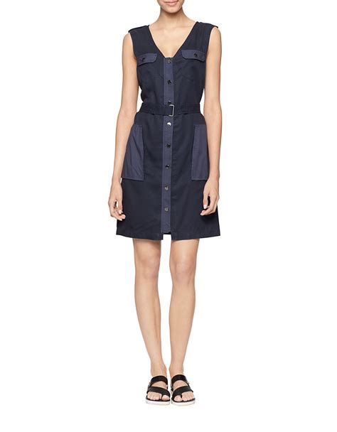 calvin klein belted sheath dress in blue classic