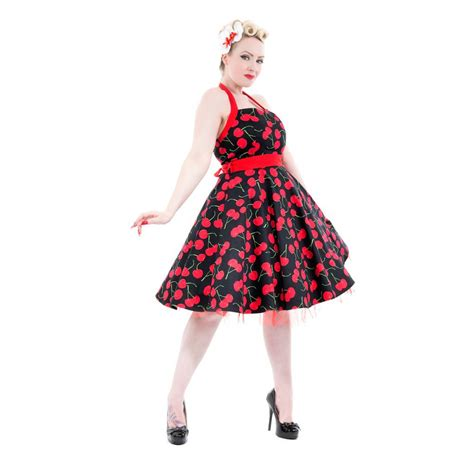 rockabilly swing kleid hearts roses 50er pin up cherry kirschen swing petticoat