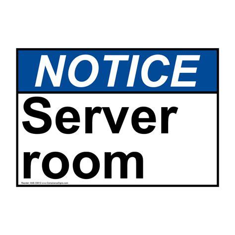 Sign Label Server Room ansi server room sign ane 33812
