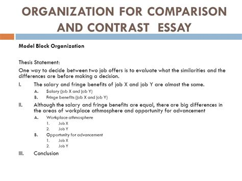 Thesis Statement For A Compare And Contrast Essay by Comparison And Contrast Essay Ppt