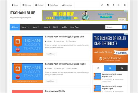 gallery themes blogger itsghani blue blogger template blogger templates gallery
