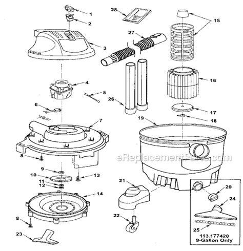 craftsman vac parts craftsman 113177415 parts list and diagram