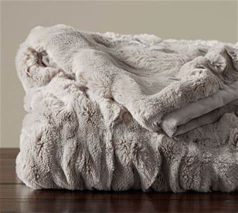 ruched faux fur throw gray pottery barn