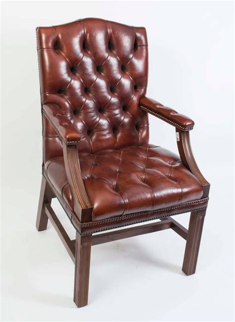 Handmade Leather Chairs - pair of handmade gainsborough leather desk chairs