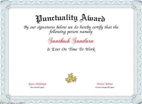 Certificate Template punctuality award certificate created with