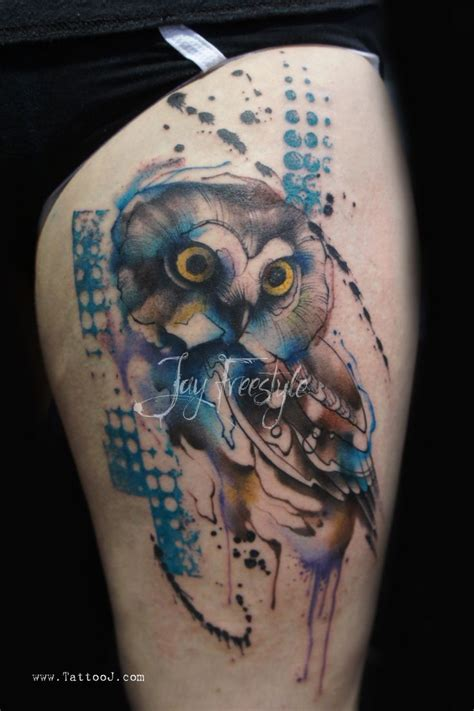 owl watercolor tattoo owl by freestyle abstract watercolor tattoos