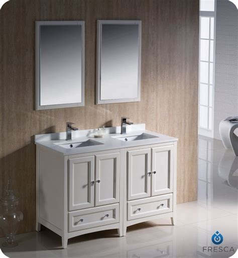 48 Inch Bathroom Vanity White Fresca Fvn20 2424aw Oxford 48 Inch Antique White Traditional Sink Bathroom Vanity