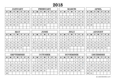 2018 yearly calendar template free printable 2018 calendar template excel word