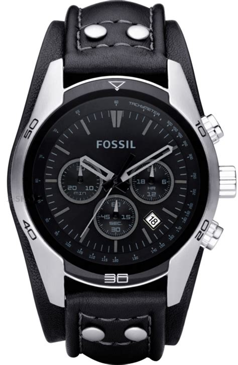 s fossil black chronograph leather cuff ch2586