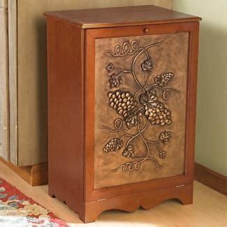 Wooden Tilt Out Trash Bin with Cold Cast Ceramic Grape