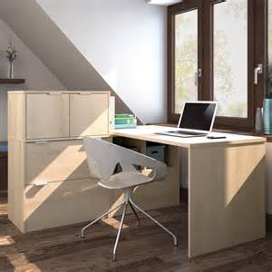 Small L Desk With Hutch Bestar I3 L Shaped Desk With Small Hutch Desks At Hayneedle