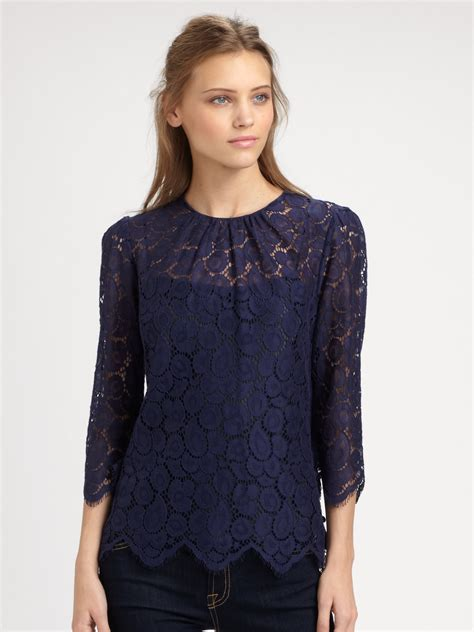 Blouse Navy milly lace blouse in blue lyst