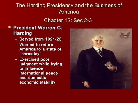 chapter 12 section 2 the harding presidency chapter 12 powerpoint