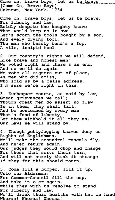 song on american song lyrics for come on brave boys let