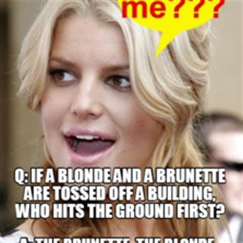 Blonde Meme - q if a blonde and a brunette are tossed off a building