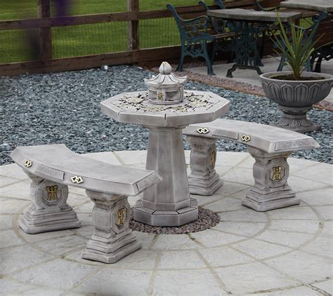 patio bench table garden furniture japanese stone benches table patio set ebay