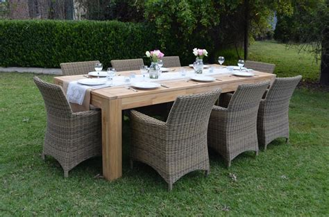 new large teak timber outdoor dining table wooden patio