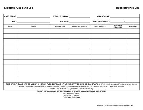 Gas Card Log Template by Best Photos Of Gas Log Sheets Printable Free Printable