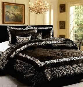 faux fur king size comforter 15pc new luxury faux fur safarina black white king